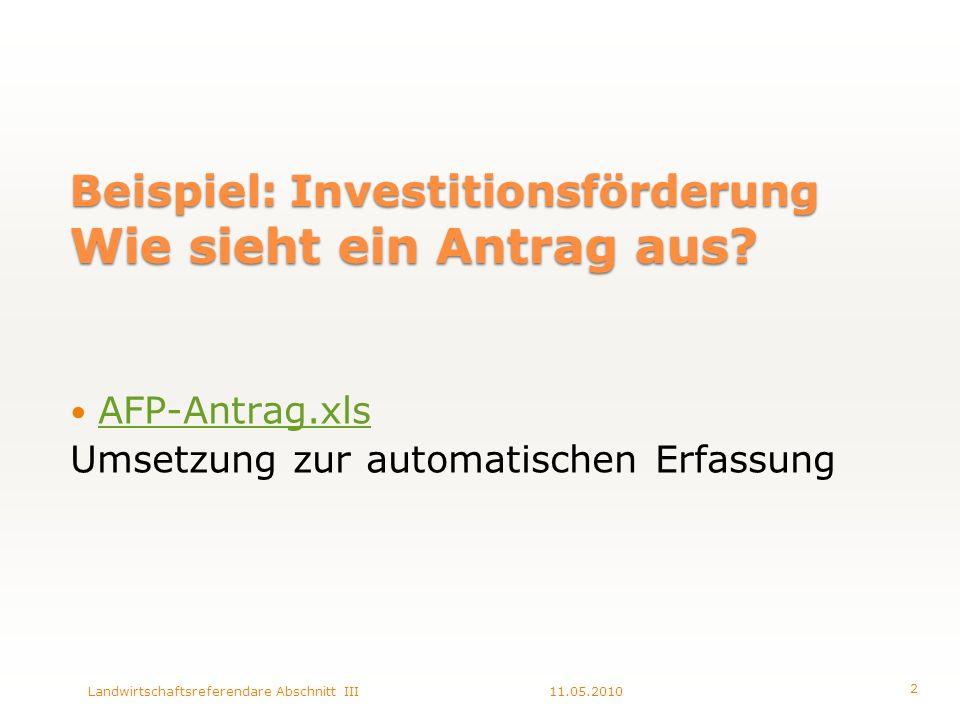 Beispiel: Investitionsförderung Wie sieht ein Antrag aus.