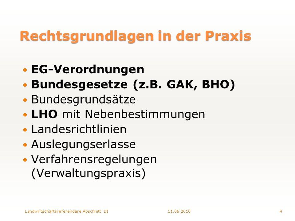 Rechtsgrundlagen in der Praxis EG-Verordnungen Bundesgesetze (z.B.