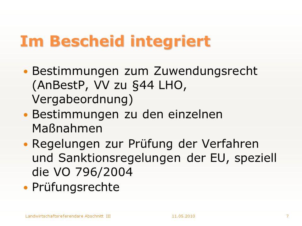 Im Bescheid integriert Bestimmungen zum Zuwendungsrecht (AnBestP, VV zu §44 LHO, Vergabeordnung) Bestimmungen zu den einzelnen Maßnahmen Regelungen zur Prüfung der Verfahren und Sanktionsregelungen der EU, speziell die VO 796/2004 Prüfungsrechte 11.05.20107Landwirtschaftsreferendare Abschnitt III