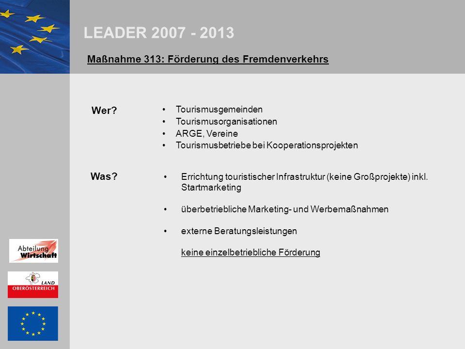 LEADER 2007 - 2013 Maßnahme 313: Förderung des Fremdenverkehrs Abwicklung Callsystem; Vorlage einer Projektkurzbeschreibung Einreichfrist: 31.