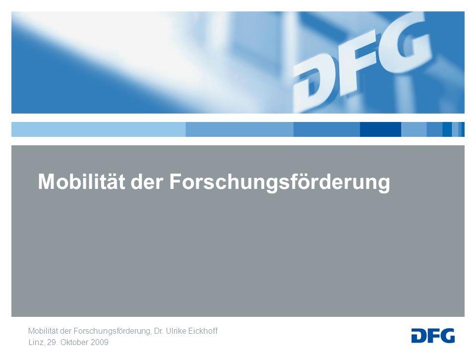 Mobilität der Forschungsförderung, Dr. Ulrike Eickhoff Linz, 29. Oktober 2009 Mobilität der Forschungsförderung