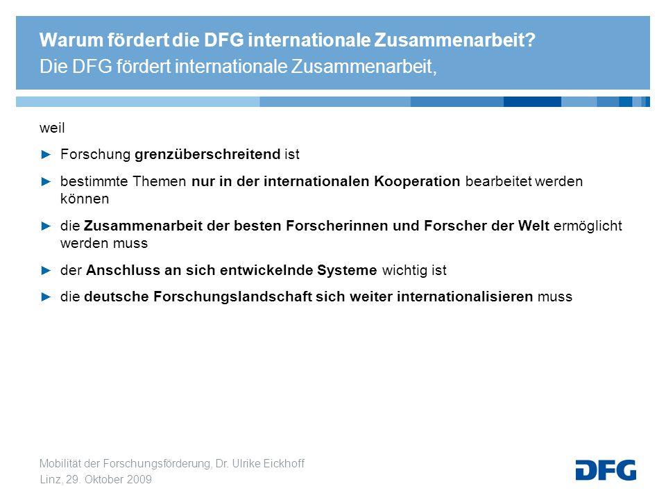 Mobilität der Forschungsförderung, Dr. Ulrike Eickhoff Linz, 29. Oktober 2009 Warum fördert die DFG internationale Zusammenarbeit? Die DFG fördert int