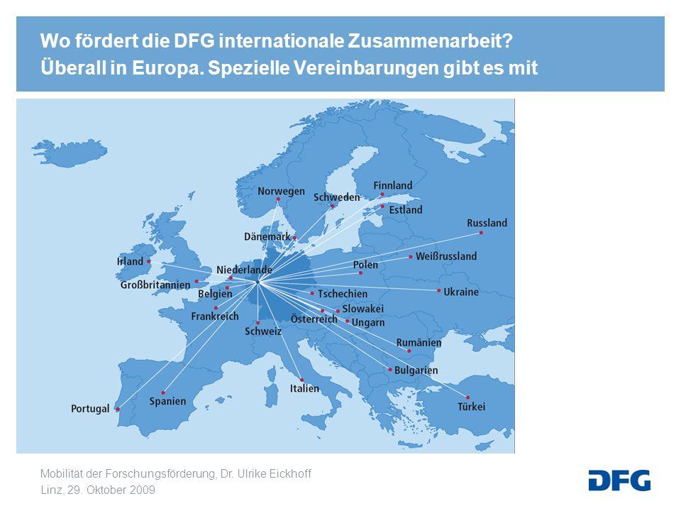 Mobilität der Forschungsförderung, Dr. Ulrike Eickhoff Linz, 29. Oktober 2009 Wo fördert die DFG internationale Zusammenarbeit? Überall in Europa. Spe