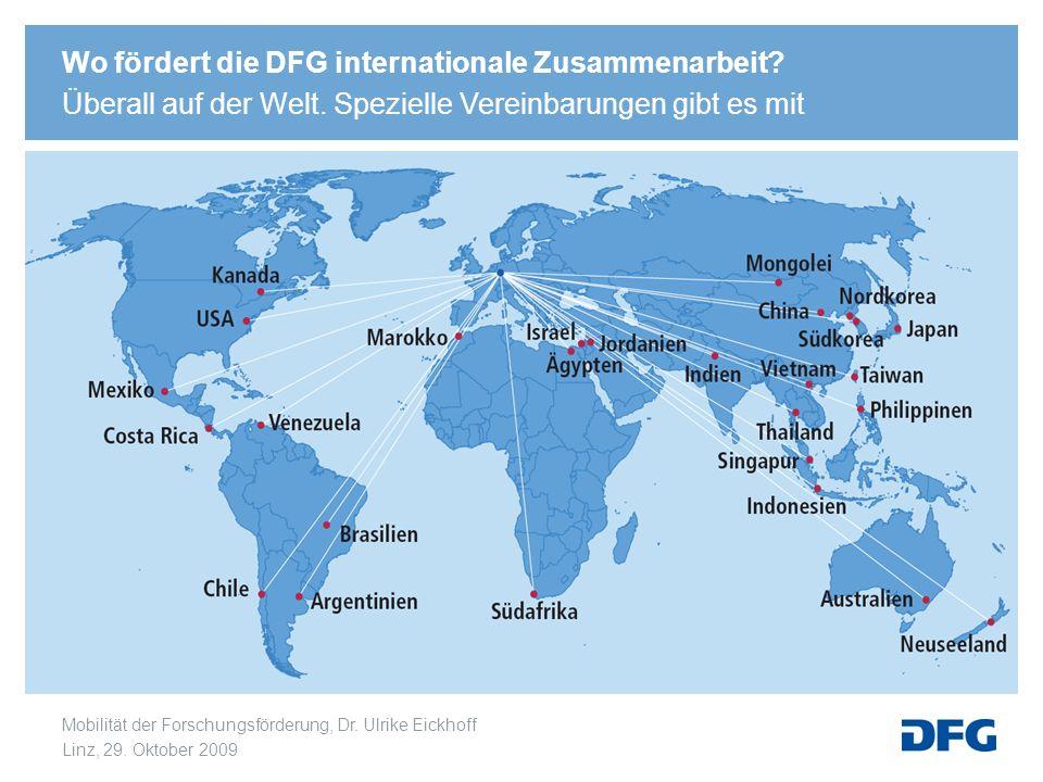 Mobilität der Forschungsförderung, Dr. Ulrike Eickhoff Linz, 29. Oktober 2009 Wo fördert die DFG internationale Zusammenarbeit? Überall auf der Welt.