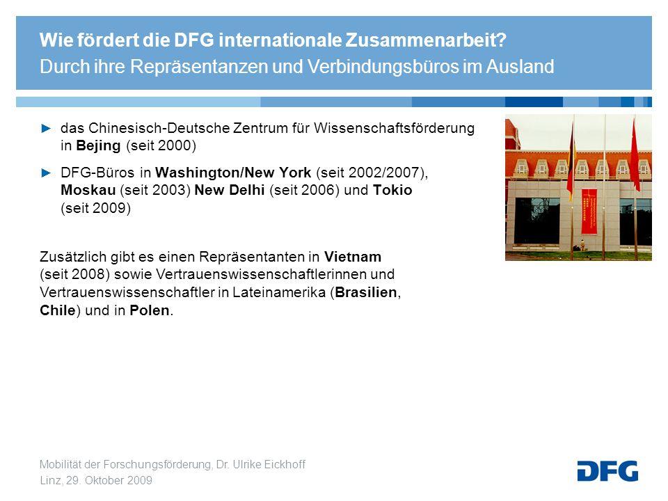 Mobilität der Forschungsförderung, Dr. Ulrike Eickhoff Linz, 29. Oktober 2009 das Chinesisch-Deutsche Zentrum für Wissenschaftsförderung in Bejing (se