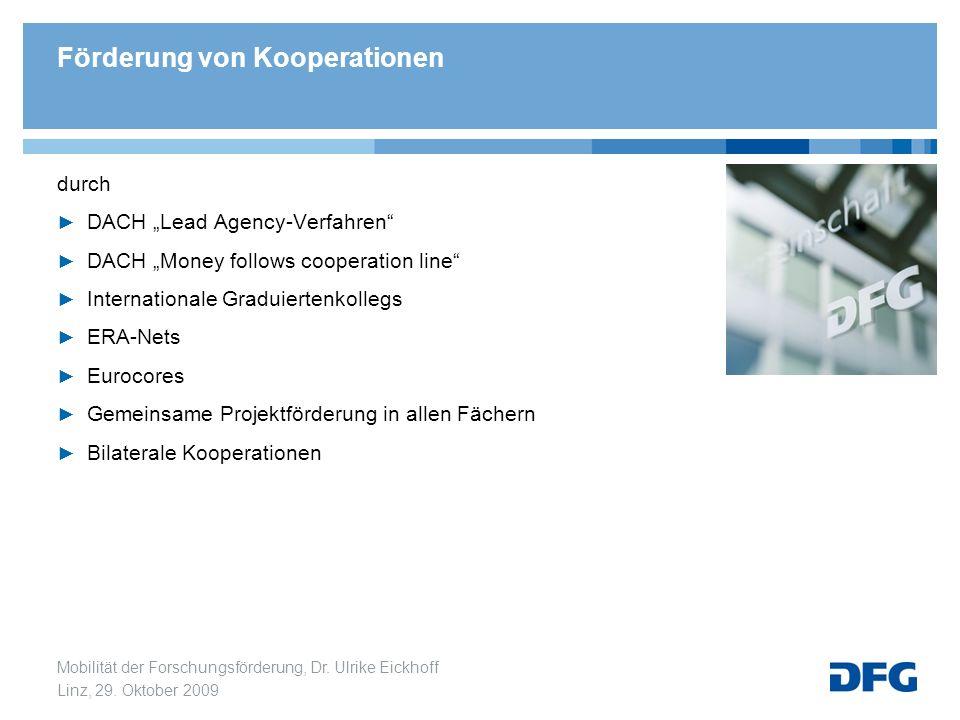 Mobilität der Forschungsförderung, Dr. Ulrike Eickhoff Linz, 29. Oktober 2009 durch DACH Lead Agency-Verfahren DACH Money follows cooperation line Int