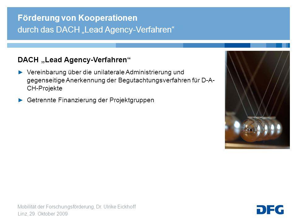 Mobilität der Forschungsförderung, Dr. Ulrike Eickhoff Linz, 29. Oktober 2009 Förderung von Kooperationen durch das DACH Lead Agency-Verfahren DACH Le