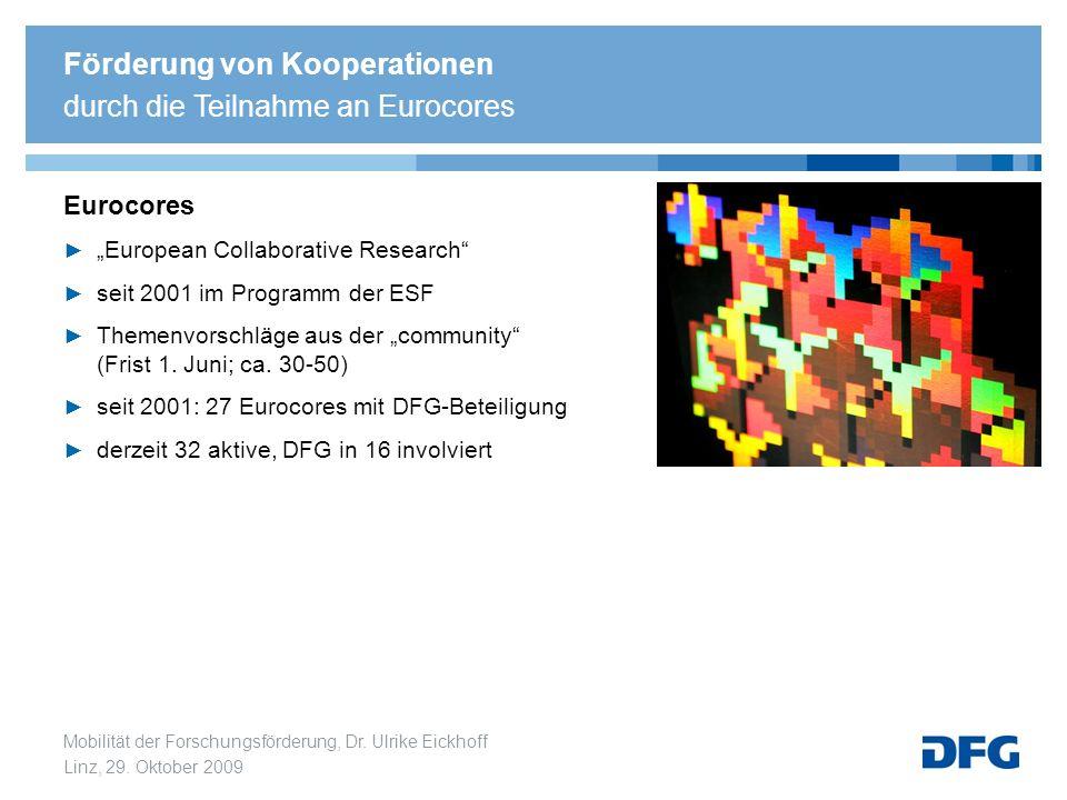 Mobilität der Forschungsförderung, Dr. Ulrike Eickhoff Linz, 29. Oktober 2009 Eurocores European Collaborative Research seit 2001 im Programm der ESF