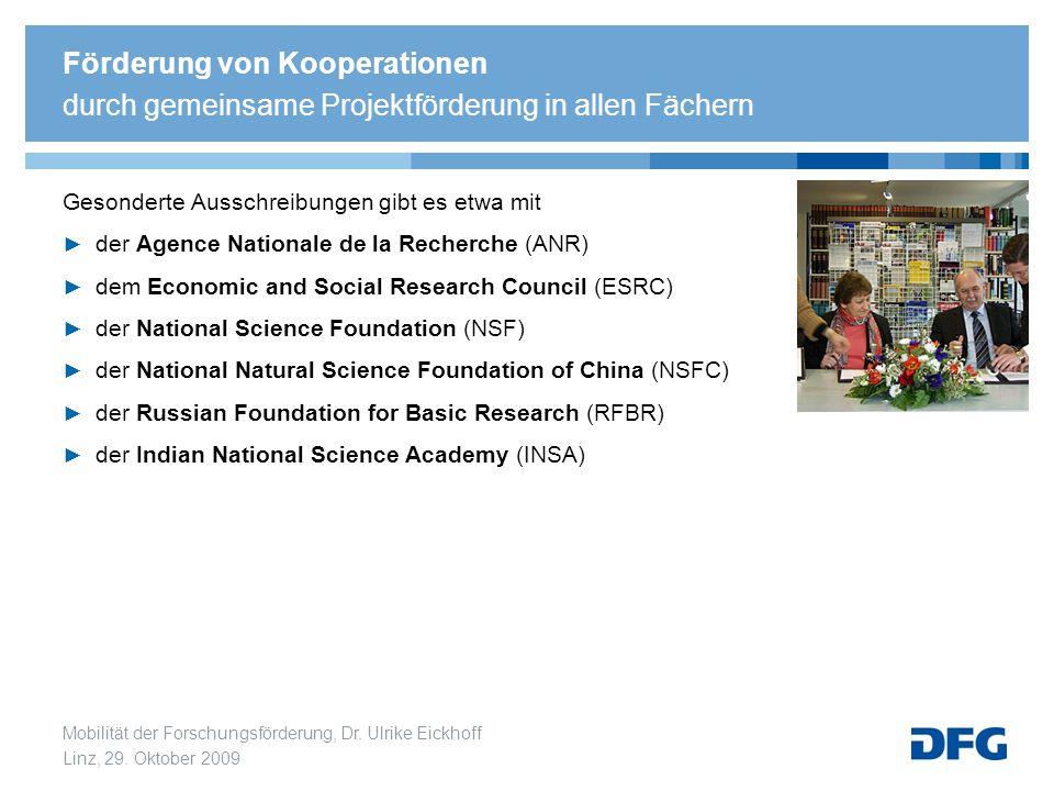 Mobilität der Forschungsförderung, Dr. Ulrike Eickhoff Linz, 29. Oktober 2009 Gesonderte Ausschreibungen gibt es etwa mit der Agence Nationale de la R