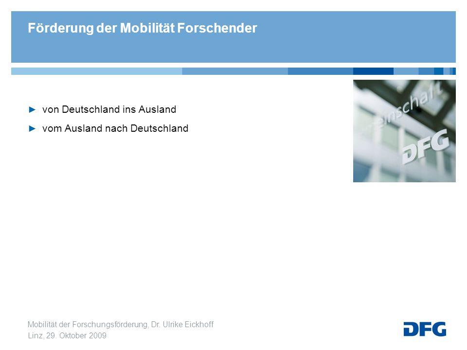 Mobilität der Forschungsförderung, Dr. Ulrike Eickhoff Linz, 29. Oktober 2009 von Deutschland ins Ausland vom Ausland nach Deutschland Förderung der M
