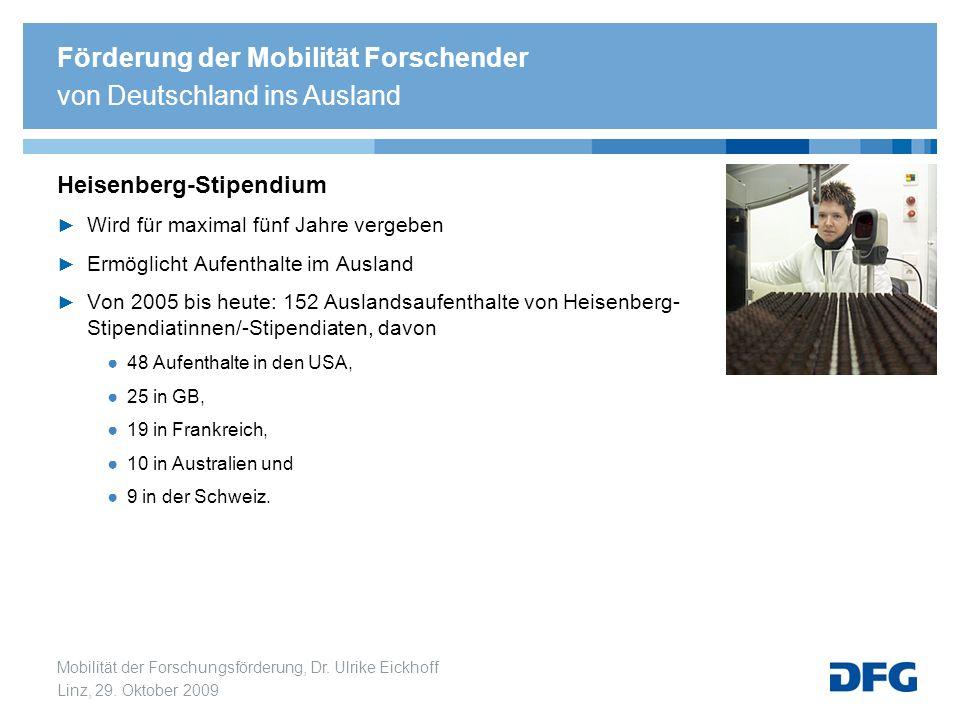 Mobilität der Forschungsförderung, Dr. Ulrike Eickhoff Linz, 29. Oktober 2009 Heisenberg-Stipendium Wird für maximal fünf Jahre vergeben Ermöglicht Au