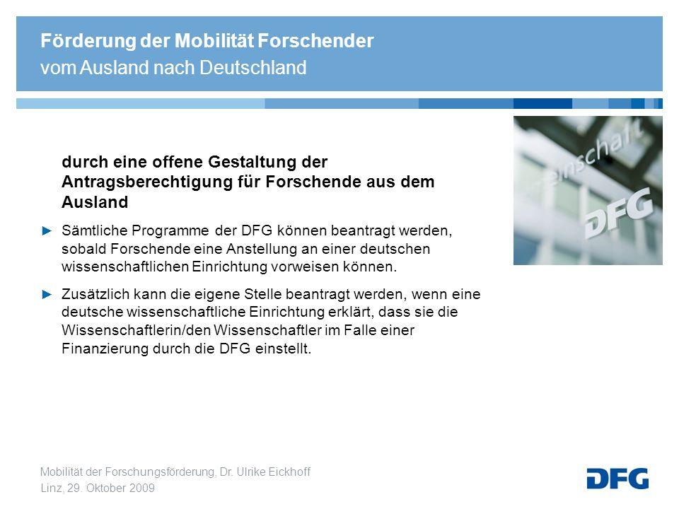 Mobilität der Forschungsförderung, Dr. Ulrike Eickhoff Linz, 29. Oktober 2009 durch eine offene Gestaltung der Antragsberechtigung für Forschende aus