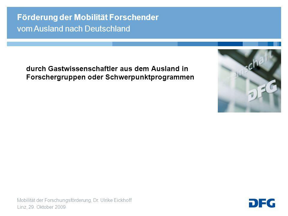 Mobilität der Forschungsförderung, Dr. Ulrike Eickhoff Linz, 29. Oktober 2009 durch Gastwissenschaftler aus dem Ausland in Forschergruppen oder Schwer