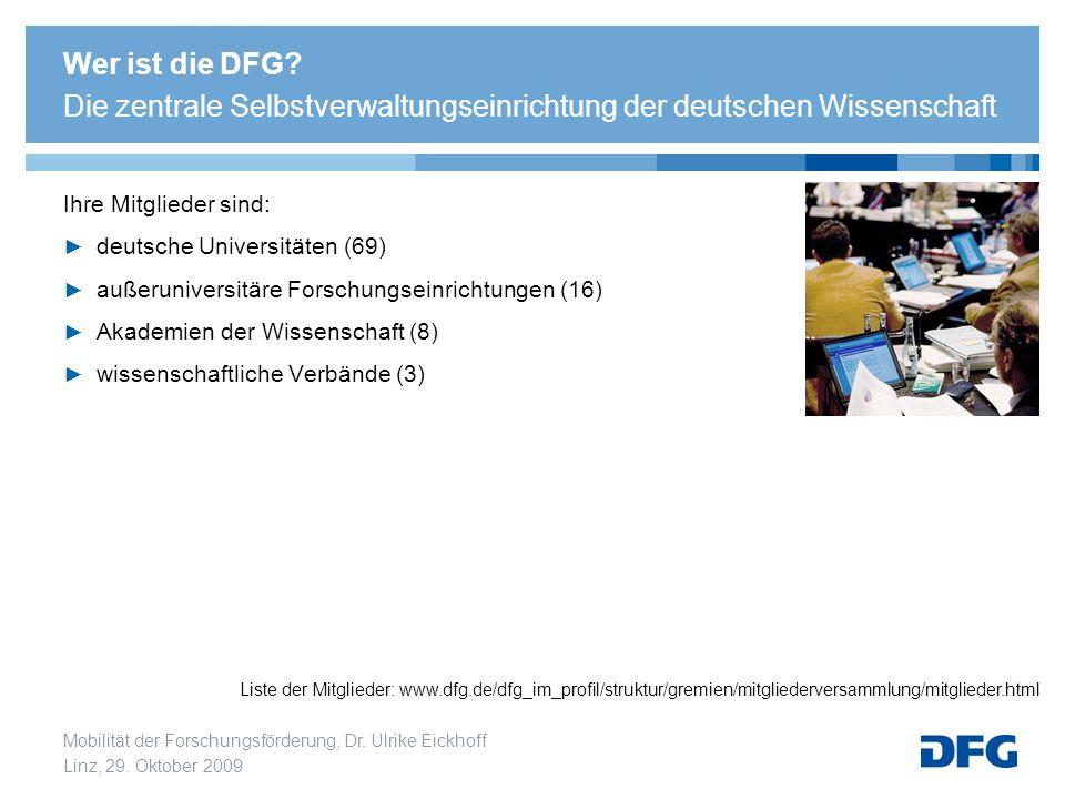 Mobilität der Forschungsförderung, Dr. Ulrike Eickhoff Linz, 29. Oktober 2009 Ihre Mitglieder sind: deutsche Universitäten (69) außeruniversitäre Fors