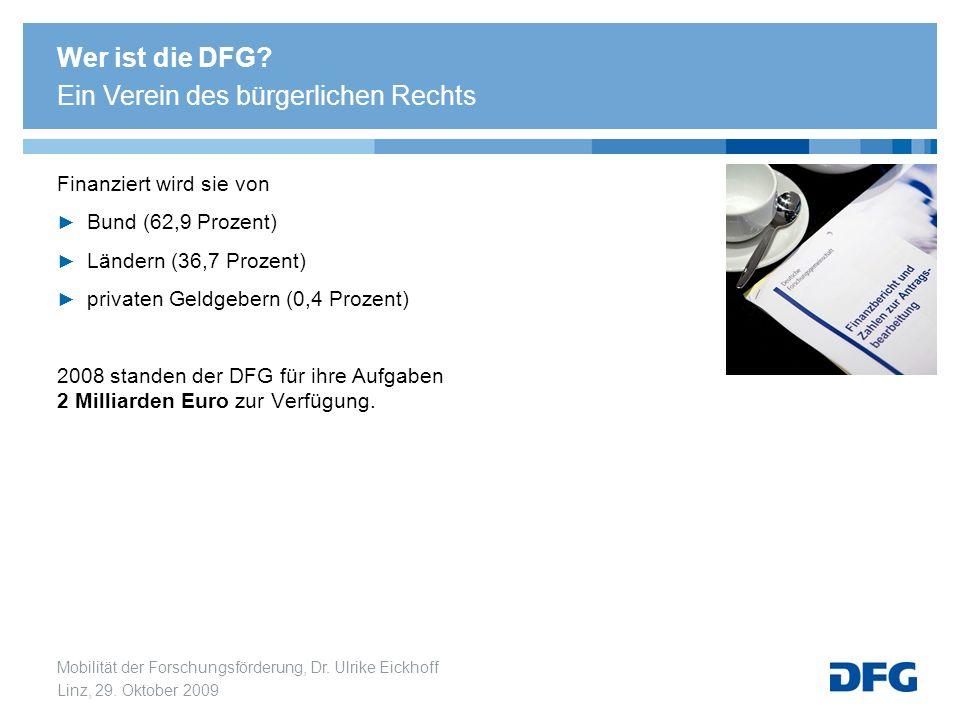 Mobilität der Forschungsförderung, Dr. Ulrike Eickhoff Linz, 29. Oktober 2009 Finanziert wird sie von Bund (62,9 Prozent) Ländern (36,7 Prozent) priva