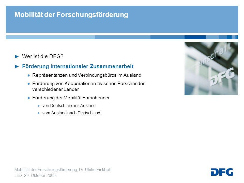 Mobilität der Forschungsförderung, Dr. Ulrike Eickhoff Linz, 29. Oktober 2009 Wer ist die DFG? Förderung internationaler Zusammenarbeit Repräsentanzen