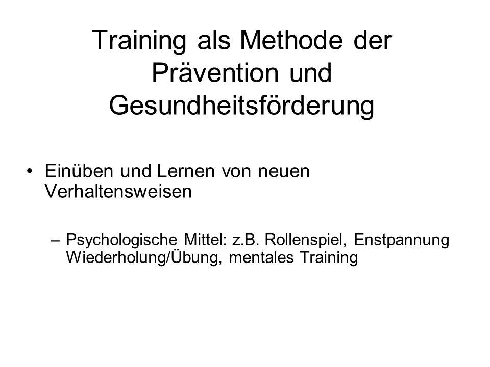 Training als Methode der Prävention und Gesundheitsförderung Einüben und Lernen von neuen Verhaltensweisen –Psychologische Mittel: z.B. Rollenspiel, E