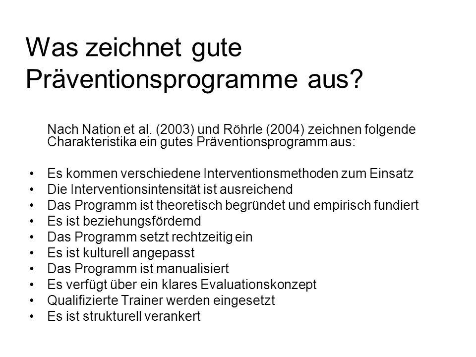 Was zeichnet gute Präventionsprogramme aus? Nach Nation et al. (2003) und Röhrle (2004) zeichnen folgende Charakteristika ein gutes Präventionsprogram
