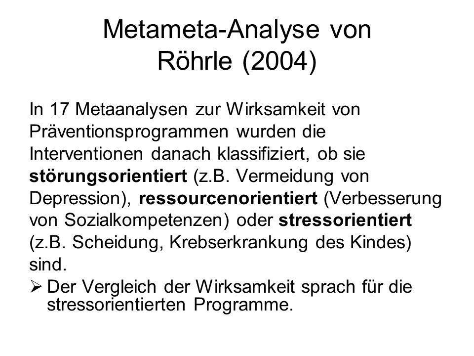 Metameta-Analyse von Röhrle (2004) In 17 Metaanalysen zur Wirksamkeit von Präventionsprogrammen wurden die Interventionen danach klassifiziert, ob sie