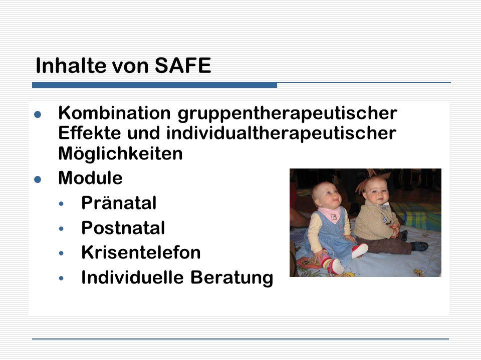 Inhalte von SAFE Kombination gruppentherapeutischer Effekte und individualtherapeutischer Möglichkeiten Module Pränatal Postnatal Krisentelefon Indivi