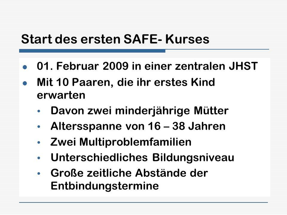 Start des ersten SAFE- Kurses 01. Februar 2009 in einer zentralen JHST Mit 10 Paaren, die ihr erstes Kind erwarten Davon zwei minderjährige Mütter Alt