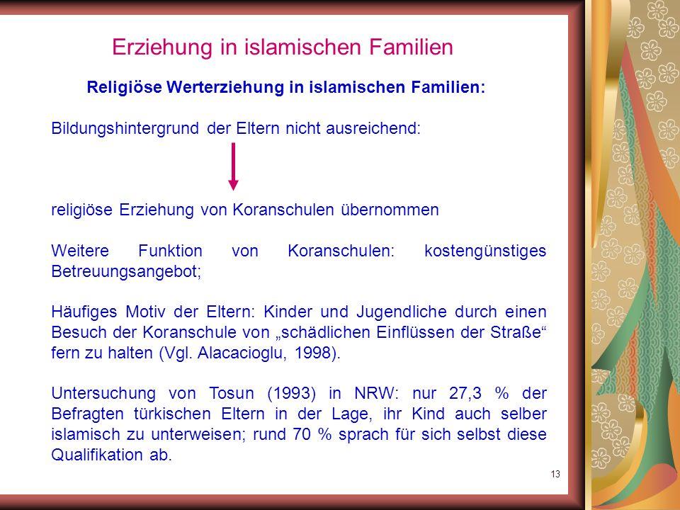 12 Erziehung in islamischen Familien Religiöse Werterziehung in islamischen Familien: In der Migration: eigene religiöse Gemeinde nicht vorgegeben, so