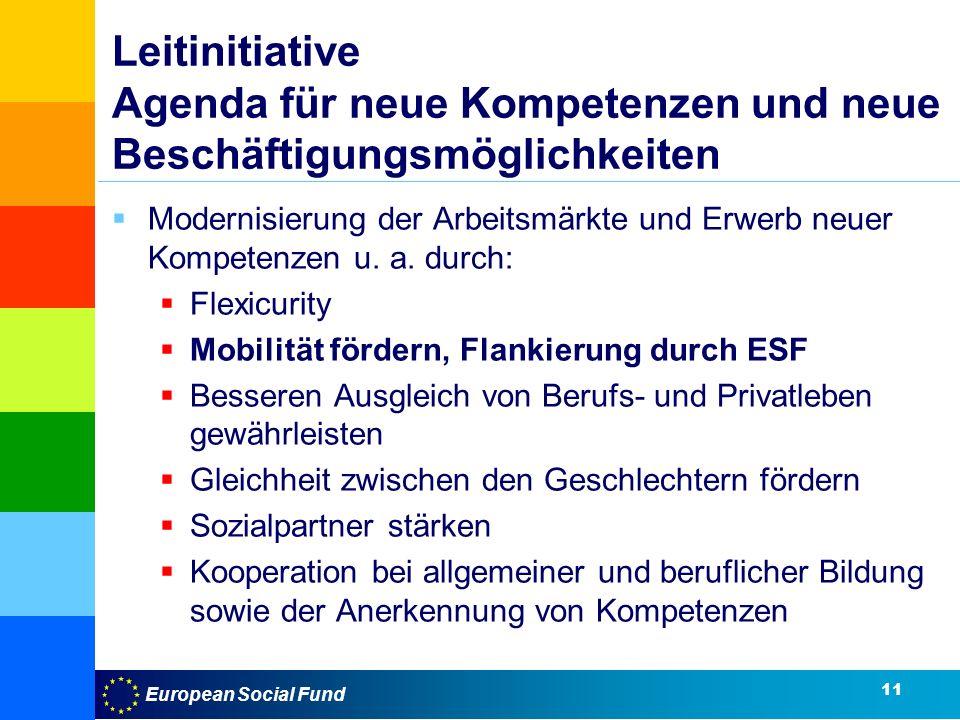 European Social Fund Leitinitiative Agenda für neue Kompetenzen und neue Beschäftigungsmöglichkeiten Modernisierung der Arbeitsmärkte und Erwerb neuer Kompetenzen u.