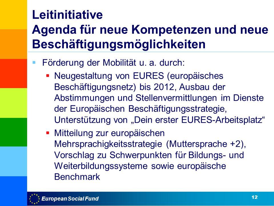 European Social Fund Leitinitiative Agenda für neue Kompetenzen und neue Beschäftigungsmöglichkeiten Förderung der Mobilität u.