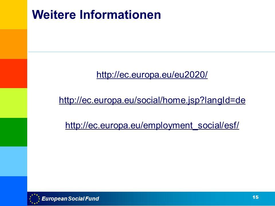 European Social Fund 15 Weitere Informationen http://ec.europa.eu/eu2020/ http://ec.europa.eu/social/home.jsp?langId=de http://ec.europa.eu/employment_social/esf/