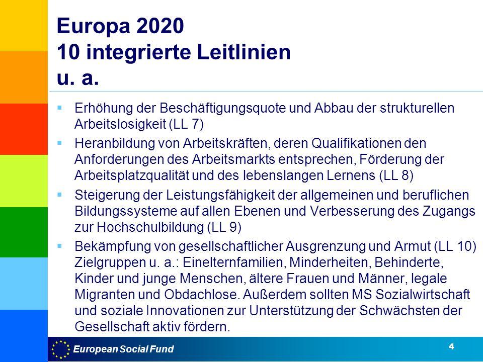European Social Fund Europa 2020 10 integrierte Leitlinien u.