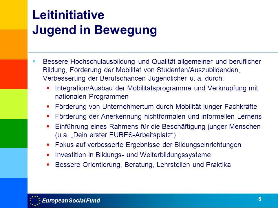 European Social Fund Leitinitiative Jugend in Bewegung Bessere Hochschulausbildung und Qualität allgemeiner und beruflicher Bildung, Förderung der Mobilität von Studenten/Auszubildenden, Verbesserung der Berufschancen Jugendlicher u.