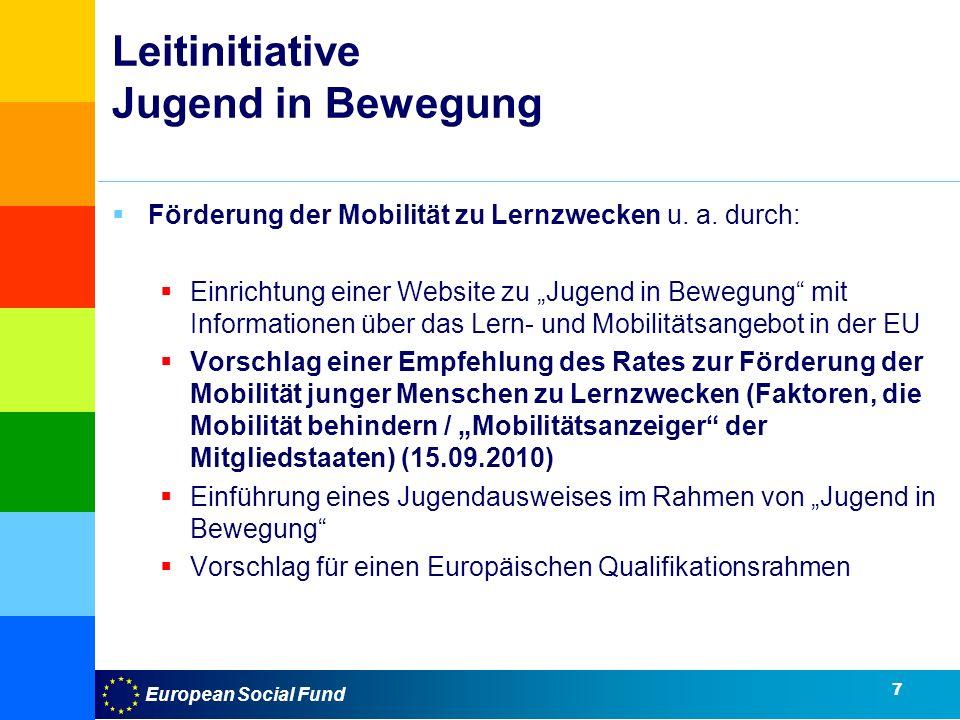 European Social Fund Leitinitiative Jugend in Bewegung Förderung der Mobilität zu Lernzwecken u.