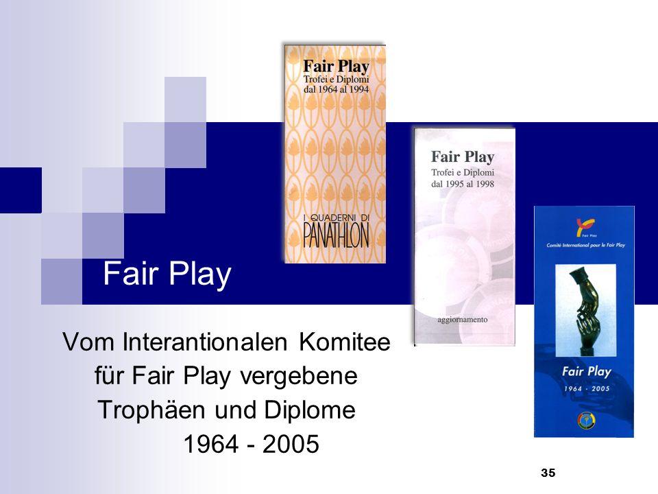 35 Fair Play Vom Interantionalen Komitee für Fair Play vergebene Trophäen und Diplome 1964 - 2005