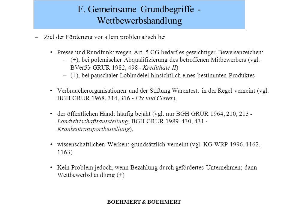 BOEHMERT & BOEHMERT F. Gemeinsame Grundbegriffe - Wettbewerbshandlung –Ziel der Förderung vor allem problematisch bei Presse und Rundfunk: wegen Art.