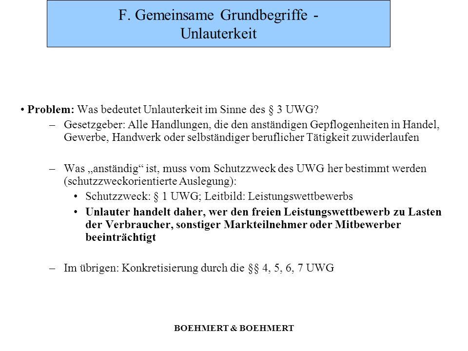 BOEHMERT & BOEHMERT F. Gemeinsame Grundbegriffe - Unlauterkeit Problem: Was bedeutet Unlauterkeit im Sinne des § 3 UWG? –Gesetzgeber: Alle Handlungen,