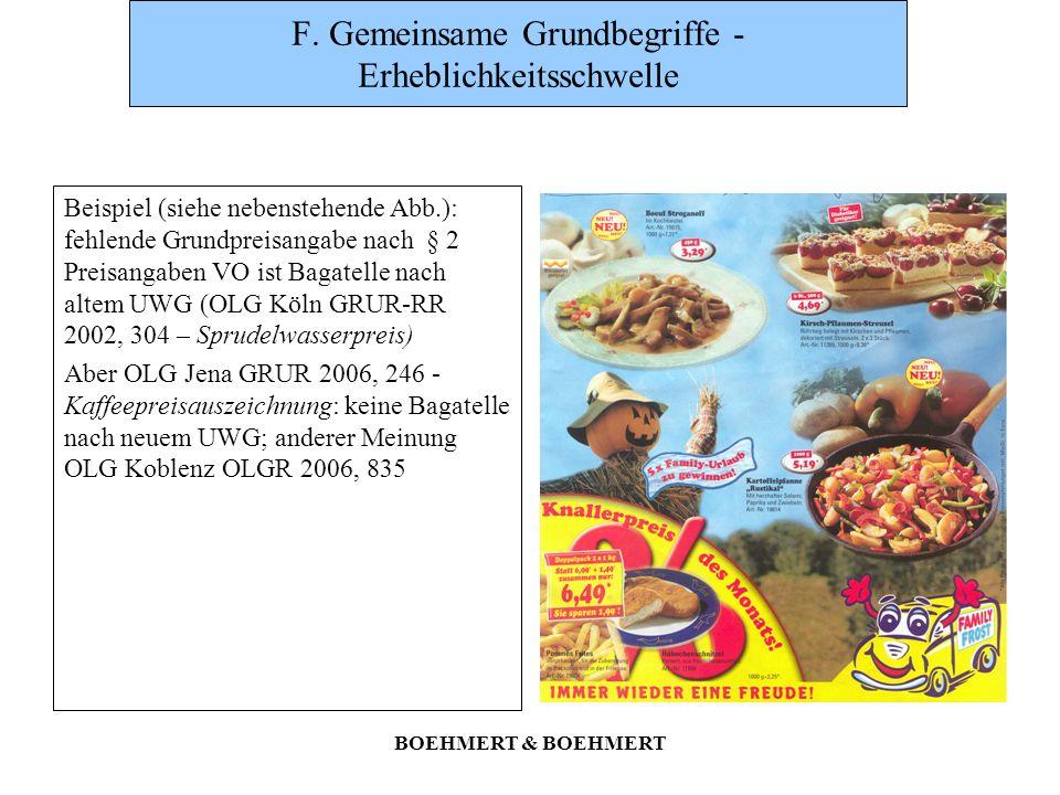 BOEHMERT & BOEHMERT F. Gemeinsame Grundbegriffe - Erheblichkeitsschwelle Beispiel (siehe nebenstehende Abb.): fehlende Grundpreisangabe nach § 2 Preis