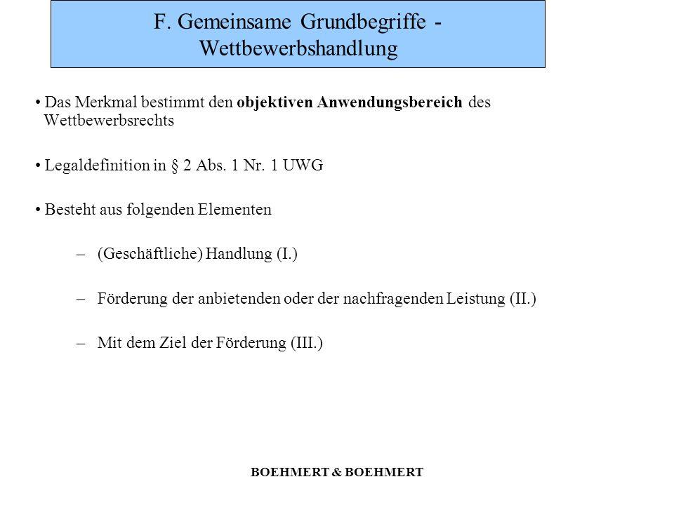 BOEHMERT & BOEHMERT F. Gemeinsame Grundbegriffe - Wettbewerbshandlung Das Merkmal bestimmt den objektiven Anwendungsbereich des Wettbewerbsrechts Lega