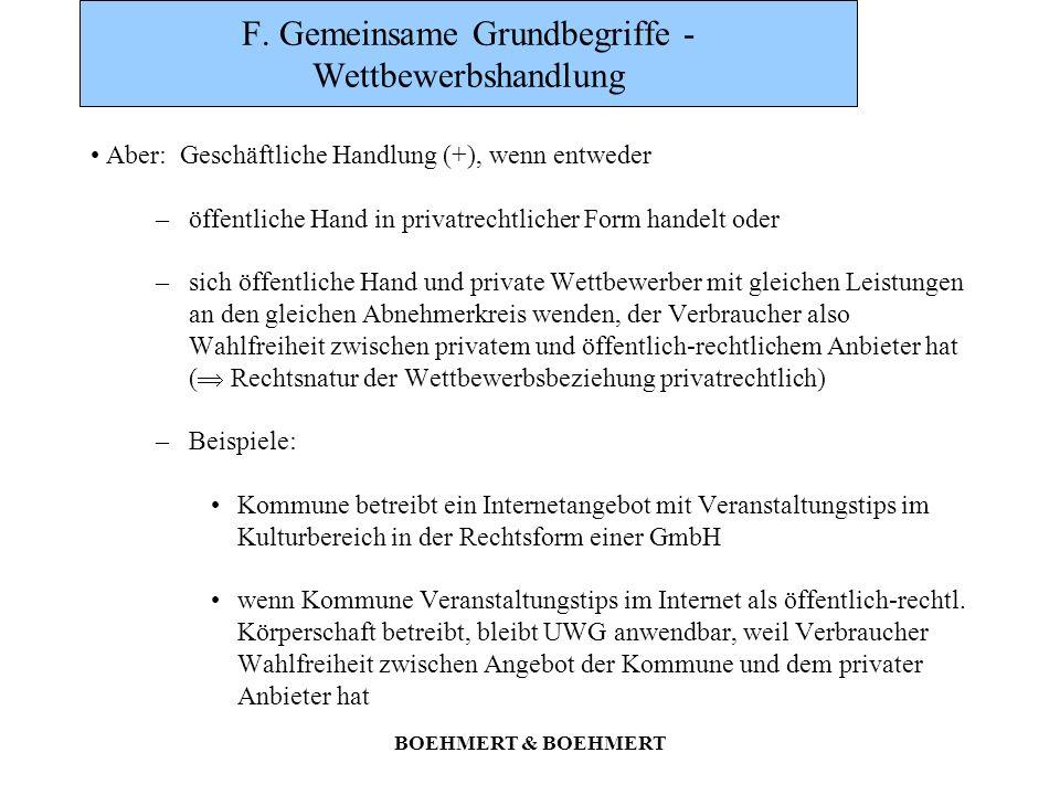 BOEHMERT & BOEHMERT F. Gemeinsame Grundbegriffe - Wettbewerbshandlung Aber: Geschäftliche Handlung (+), wenn entweder –öffentliche Hand in privatrecht