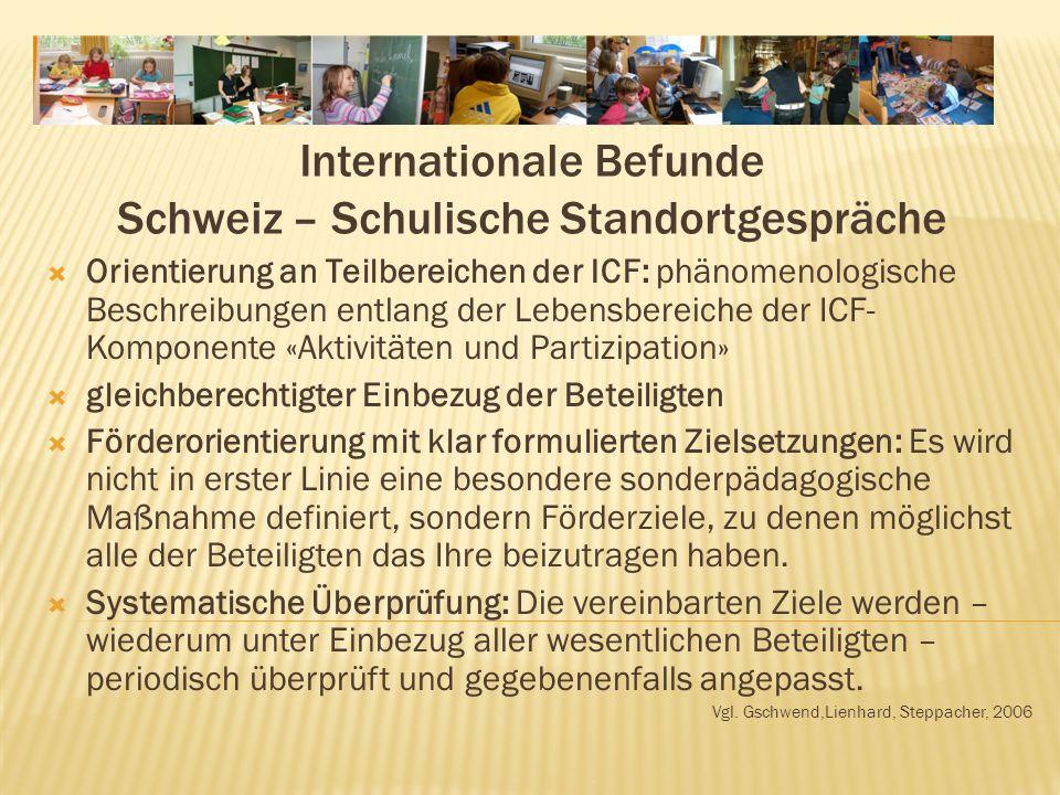 Internationale Befunde Schweiz – Schulische Standortgespräche Orientierung an Teilbereichen der ICF: phänomenologische Beschreibungen entlang der Lebensbereiche der ICF- Komponente «Aktivitäten und Partizipation» gleichberechtigter Einbezug der Beteiligten Förderorientierung mit klar formulierten Zielsetzungen: Es wird nicht in erster Linie eine besondere sonderpädagogische Maßnahme definiert, sondern Förderziele, zu denen möglichst alle der Beteiligten das Ihre beizutragen haben.