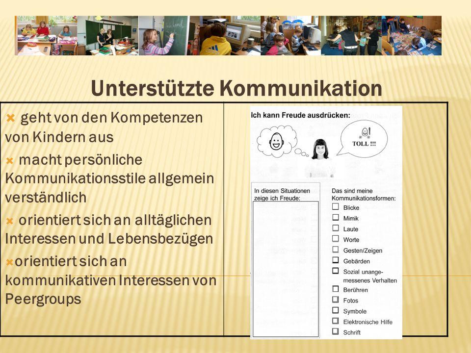 Unterstützte Kommunikation geht von den Kompetenzen von Kindern aus macht persönliche Kommunikationsstile allgemein verständlich orientiert sich an alltäglichen Interessen und Lebensbezügen orientiert sich an kommunikativen Interessen von Peergroups