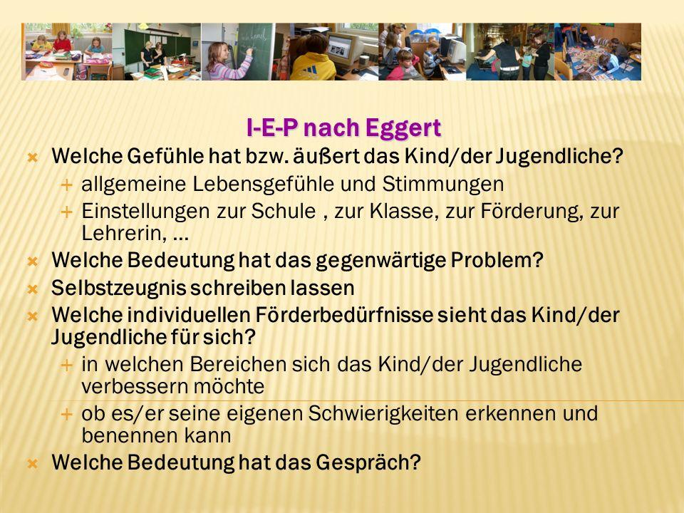 I-E-P nach Eggert Welche Gefühle hat bzw.äußert das Kind/der Jugendliche.