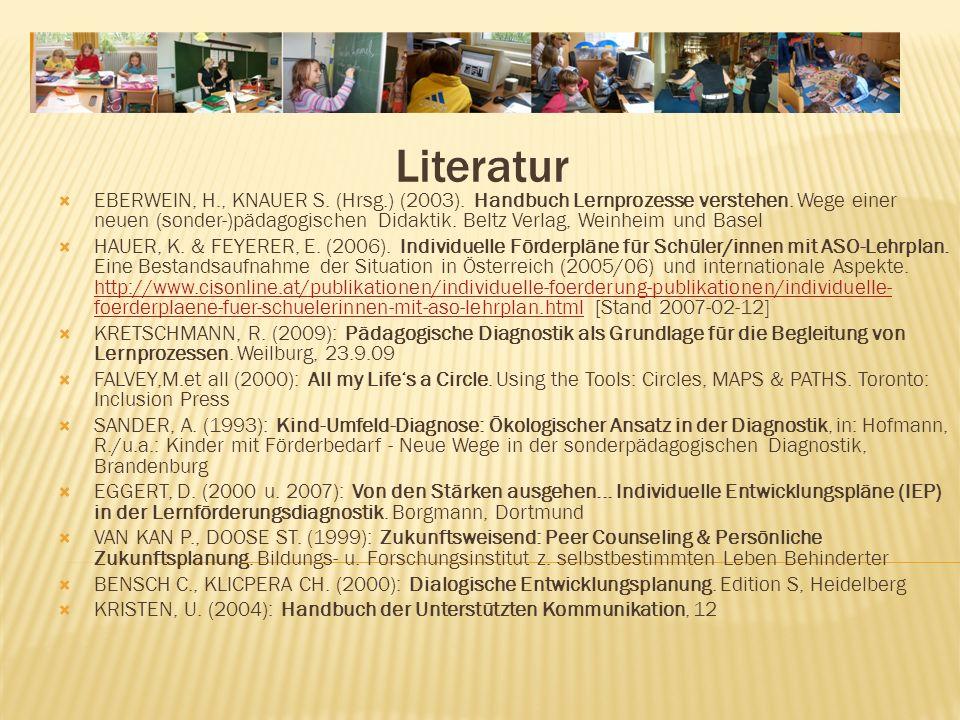 Literatur EBERWEIN, H., KNAUER S.(Hrsg.) (2003). Handbuch Lernprozesse verstehen.