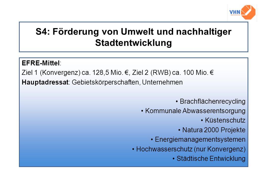 S4: Förderung von Umwelt und nachhaltiger Stadtentwicklung EFRE-Mittel: Ziel 1 (Konvergenz) ca. 128,5 Mio., Ziel 2 (RWB) ca. 100 Mio. Hauptadressat: G