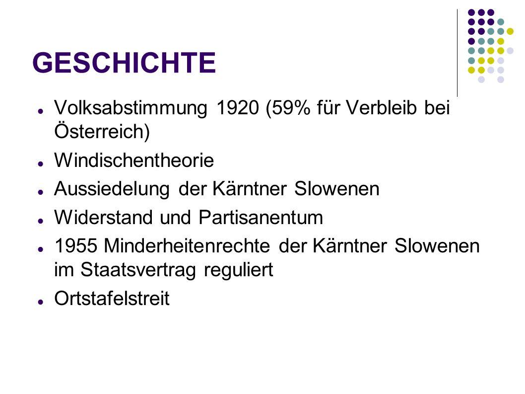 GESCHICHTE Volksabstimmung 1920 (59% für Verbleib bei Österreich) Windischentheorie Aussiedelung der Kärntner Slowenen Widerstand und Partisanentum 19