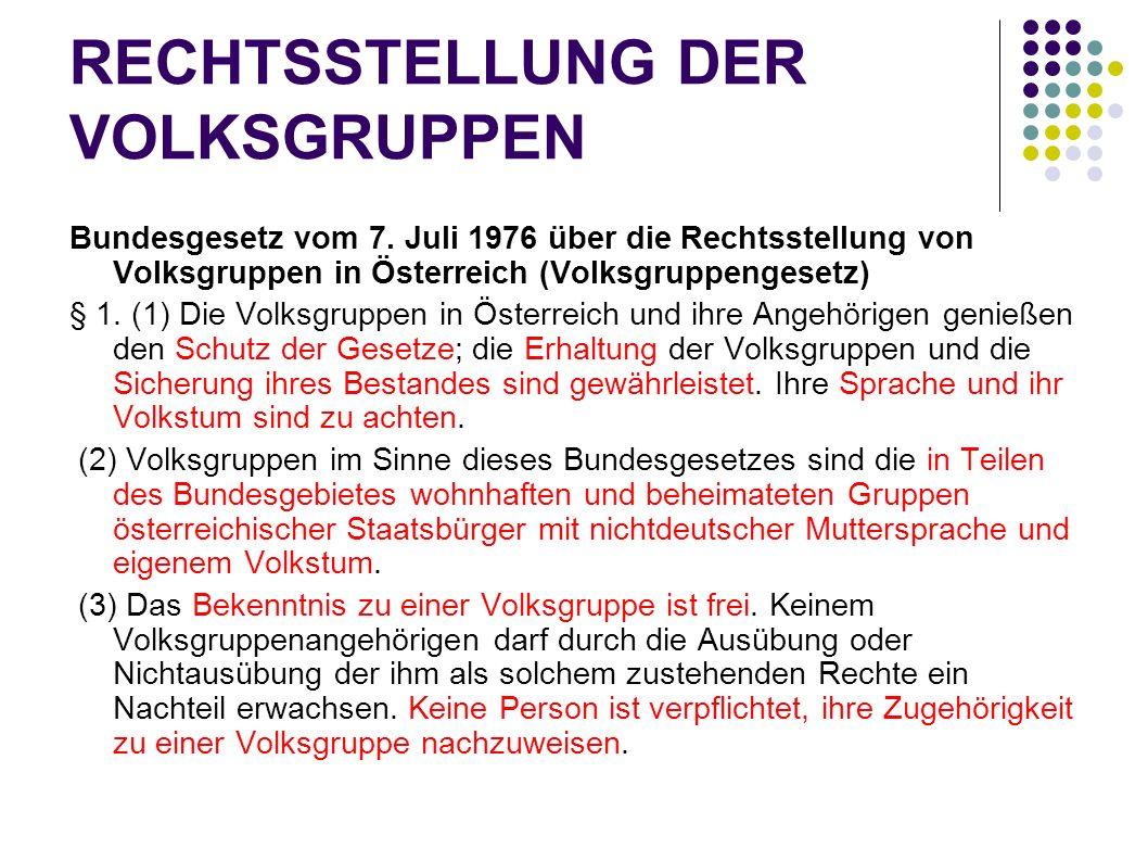 RECHTSSTELLUNG DER VOLKSGRUPPEN Bundesgesetz vom 7. Juli 1976 über die Rechtsstellung von Volksgruppen in Österreich (Volksgruppengesetz) § 1. (1) Die