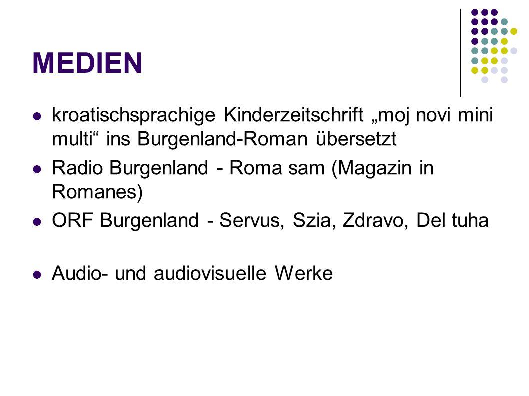 MEDIEN kroatischsprachige Kinderzeitschrift moj novi mini multi ins Burgenland-Roman übersetzt Radio Burgenland - Roma sam (Magazin in Romanes) ORF Bu
