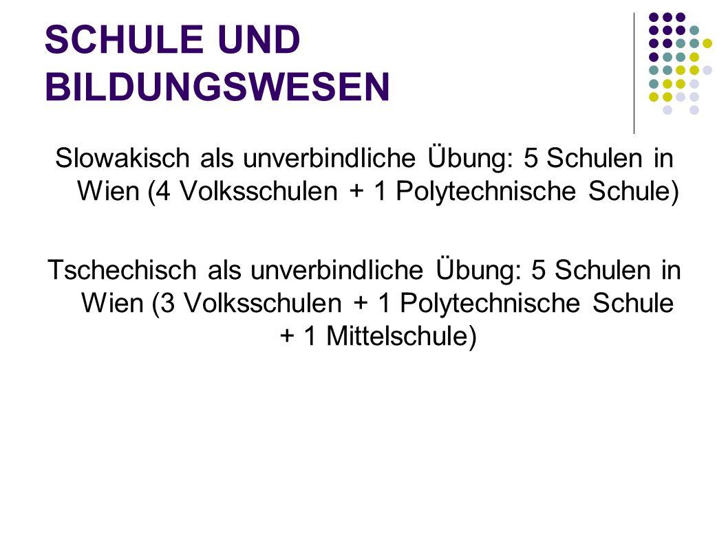 SCHULE UND BILDUNGSWESEN Slowakisch als unverbindliche Übung: 5 Schulen in Wien (4 Volksschulen + 1 Polytechnische Schule) Tschechisch als unverbindli