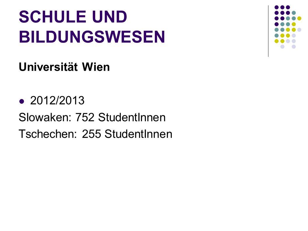 SCHULE UND BILDUNGSWESEN Universität Wien 2012/2013 Slowaken: 752 StudentInnen Tschechen: 255 StudentInnen