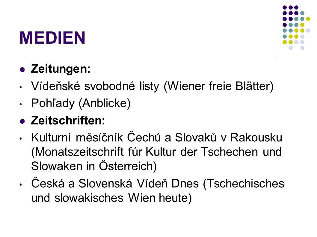 MEDIEN Zeitungen: Vídeňské svobodné listy (Wiener freie Blätter) Pohľady (Anblicke) Zeitschriften: Kulturní měsíčník Čechů a Slovaků v Rakousku (Monat