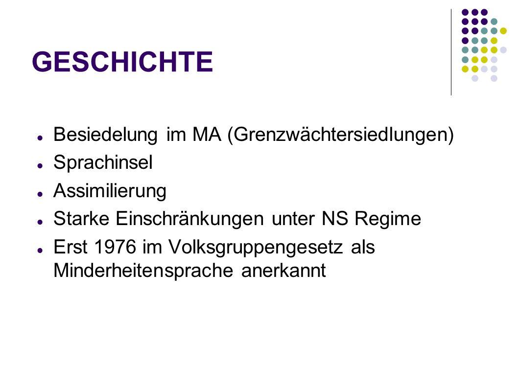 GESCHICHTE Besiedelung im MA (Grenzwächtersiedlungen) Sprachinsel Assimilierung Starke Einschränkungen unter NS Regime Erst 1976 im Volksgruppengesetz